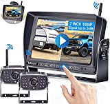 RV Backup Camera Wireless, DoHonest HD 1080P 2 Rear View Cameras 7'' DVR Touch Key Monitor Stable Digital Signal KIt,Support 4 Cameras with Adapter for Furrion Pre-Wired RV,Trailer,Truck,5th Wheel-V23