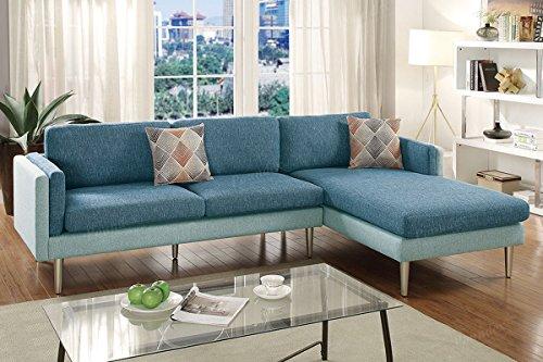 Poundex Bobkona Dreena Sala Seccional Diseño Delgado y Compacto, Tapizado en una Suave Tela Mezclada de Algódon, Color Azul/Agua, Paquete de 1