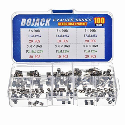 BOJACK 6 Values 100 pcs Fast-Blow Glass Fuses Assortment Kit 3.6x10mm Mini Fuse 125V 2.5 3 5A and 5x20mm 125V 4 5 8A amp packag in a Clear Plastic Box