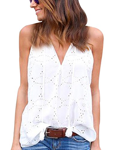 Smalltile dames zomerjurk lange mouwen top mode haak bloem blouse tank casual V-hals mouwloos blouse T-shirt met band