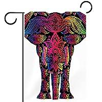 ウェルカムガーデンフラッグ(12x18in)両面垂直ヤード屋外装飾,象