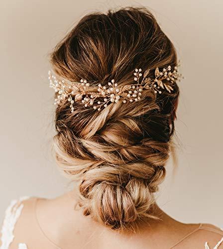 SWEETV Handmade Hochzeit Haarkamm Braut Haar Seitenkamm Clip, Gold Hochzeit Haarschmuck für Bräute
