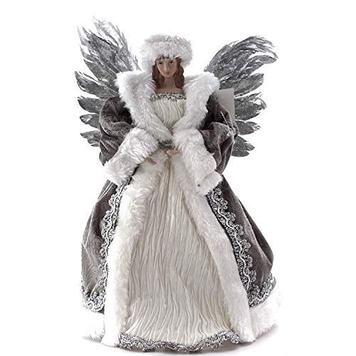 Goodwill Harz und Stoff Feather Wing Tree Topper 30 Zentimeter Farbe Weiß und Silber