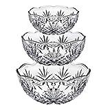Godinger Bowl Set for Salad, Serving, Mixing, Dublin Crystal Collection - Set of 3