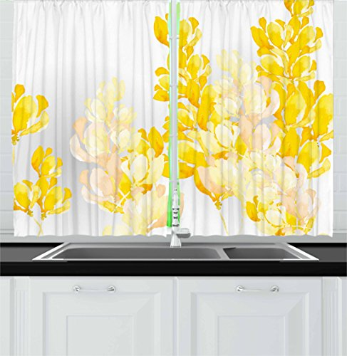 """Ambesonne Yellow and White Kitchen Curtains, Watercolor Art Style Blossoming Wild Flowers Spring Meadow Botany Nature, Window Drapes 2 Panel Set for Kitchen Cafe Decor, 55"""" X 39"""", Yellow White"""