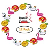 Hill & Amber Inflatable Drink Holders 12 Pack Pool Drink Floats for Pool Party and Kids Bath Toys. 3 Flamingo, 3 Pineapple, 3 Unicorn, 3 Donuts, 1 Free Air Pump