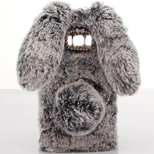 Omorro for Galaxy S8 Case [Plush Rabbit Case] Stylish Desgin Cute Furry Rabbit Bunny Fur Bling Crystal Rhinestone Design Fluffy Cool Soft Protective Cover Slim Shell for Samsung Galaxy S8