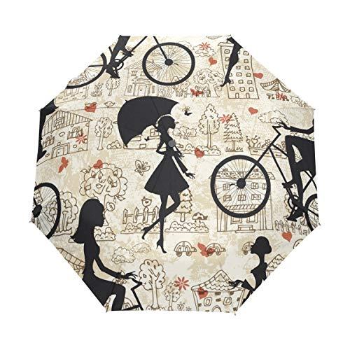 Mr.XZY Hermosa chica de pelo largo de la bicicleta paraguas a prueba...