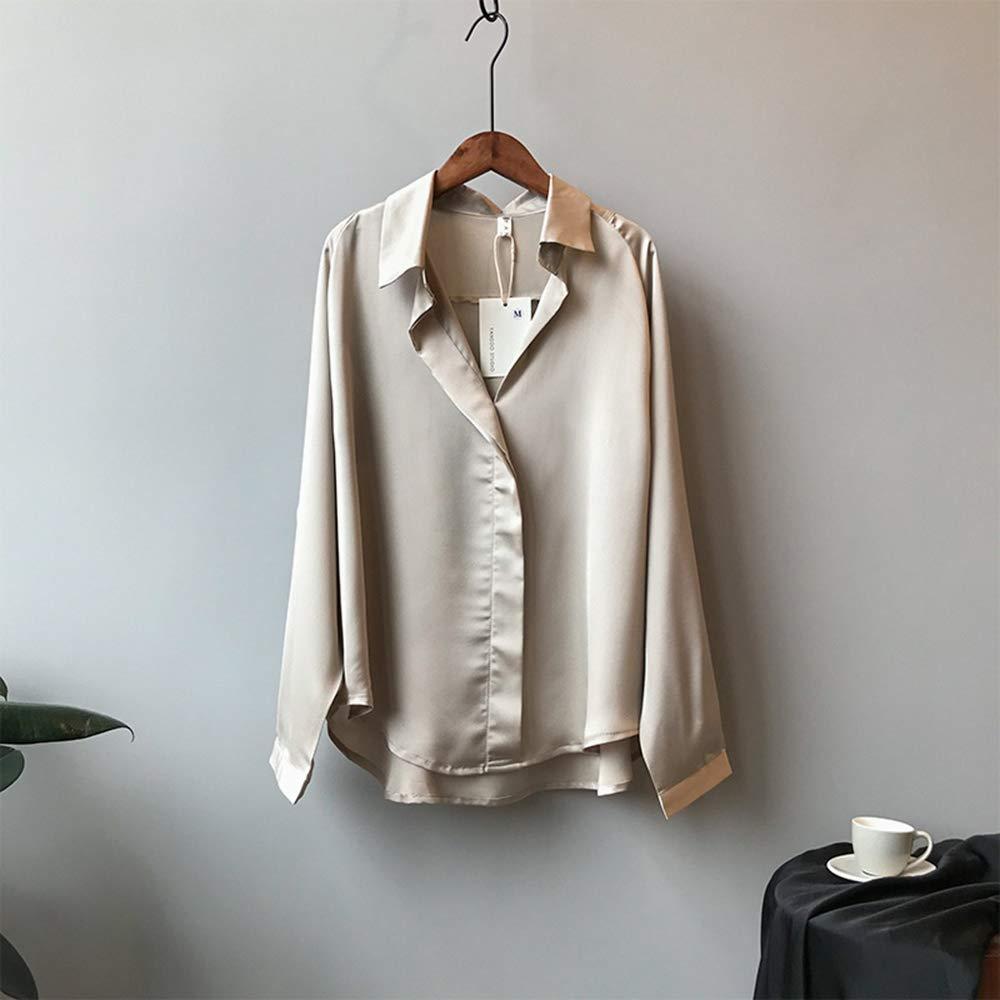 TNM Camisas con Cuello en V de Manga Larga para Mujer Blusas clásicas de satén Blusas clásicas a Cuadros para Damas,Champagne,L: Amazon.es: Hogar