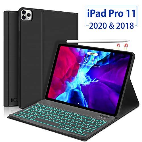 Funda con teclado para iPad Pro 11 2020/2018, Boriyuan Folio Smart Cover compatible con Apple Pencil, teclado retroiluminado Bluetooth desmontable, compatible con iPad Pro 11, color negro
