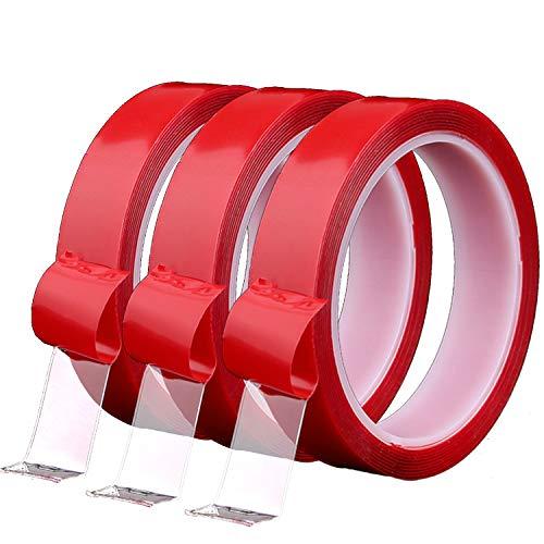 zanasta 3X Cinta Adhesiva Doble Cara 5m x 8mm de Largo, Alta Fuerza Adhesiva, Rollo Reutilizable, extraíble, Transparente