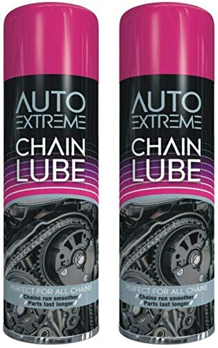 Bike Chain Cleaner, 2 x 300ml Chain Lube, Bike Chain Oil, Lubricate Oil Fluids Spray Cans for Motorbikes, Bikes, Bicycles, Squirt Chain Lube, Drivetrain Cleaner Degreaser by Auto Extreme