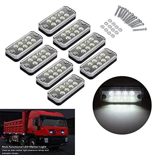 GOFORJUMP 8PCS 24V 8 LED feu de balisage latéral Lampe Camion remorque remorque Caravane étanche Voyant Blanc