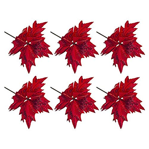 6 foglie di fiori artificiali di Natale, decorazioni per albero di Natale in seta glitterata, decorazione per albero di Natale di Poinsettia finto fiore fai da te puntelli rossi