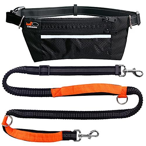 Cokomono Hunde Joggingleine mit Bauchgurt, Hundeleine Laufleine für große und mittelgroße Hunde mit Reflektierender Nähte, verstellbare Freihandleine zum Laufen, Joggen und Wandern, schwarz/orange