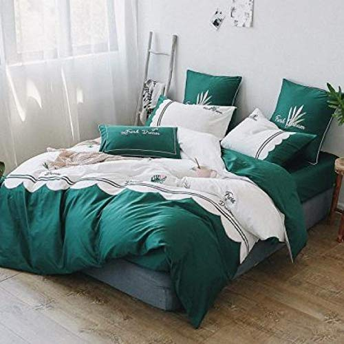 YIEBAI Blue Luxury Satin Bedding Sets Embroidery Bed Set Double Duvet Cover Bed Sheet Set Pillowcase,3,King Size 4pcs