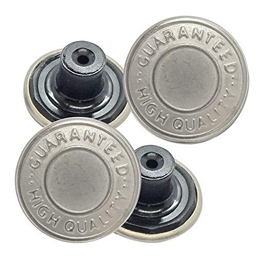 Trimming Shop 8 X Jean Boutons Goujon 17mm Large, Rechange pour Manquant Boutons sur Jeans, Vestes, Vêtements - Argent, 17mm