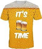 EUDOLAH Herren Bunt Galaxy T-Shirt Sport Rundhals Spaß Motiv Tops (Large, A-Bier)