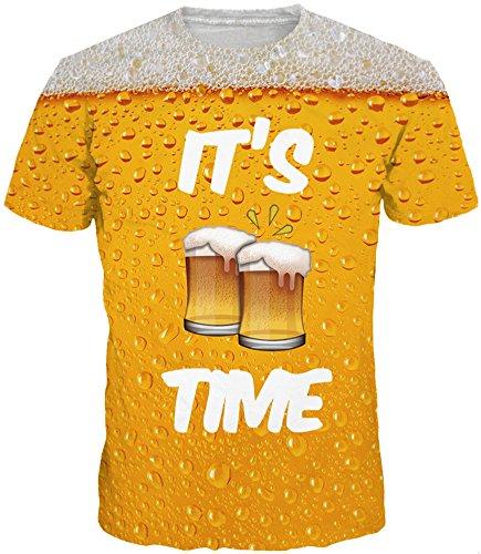EUDOLAH Herren T-Shirts 3D Druck Bunt Galaxy Sport Rundhals Schmale Passform Motiv Tops (XXX-Large, A-A-Bier)