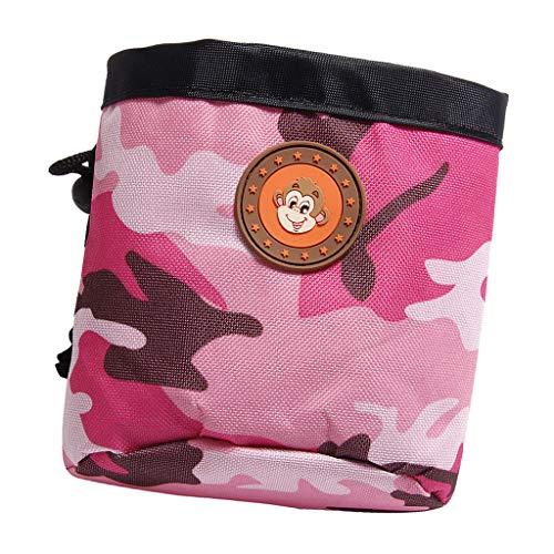 PETSOLA Futterbeutel Futtertasche Snack Tasche Snackbeutel Leckerlietasche Hundetraining Beutel mit Gürtelclip, 13x6x14,5 cm - Rosa + Camouflage