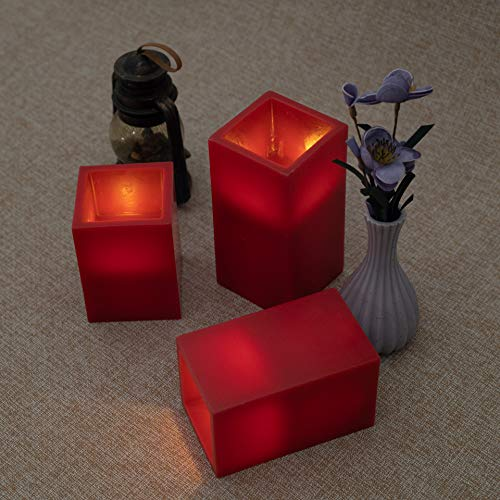 RED Flameless Candles Battery Operated Set of 3, 6 Square Ivory Wax and Amber Yellow Flame, auto-Off Timer Remote Control, Large Fake Battery Powered Candles (Red-Cube-Set 3)