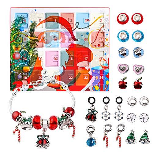 Calendario Avvento Calendari dell'avvento Braccialetti DIY Set di Gioielli di Moda con 22 ciondoli 2019 Calendario Conto alla rovescia di Natale Regali per Donne Ragazze