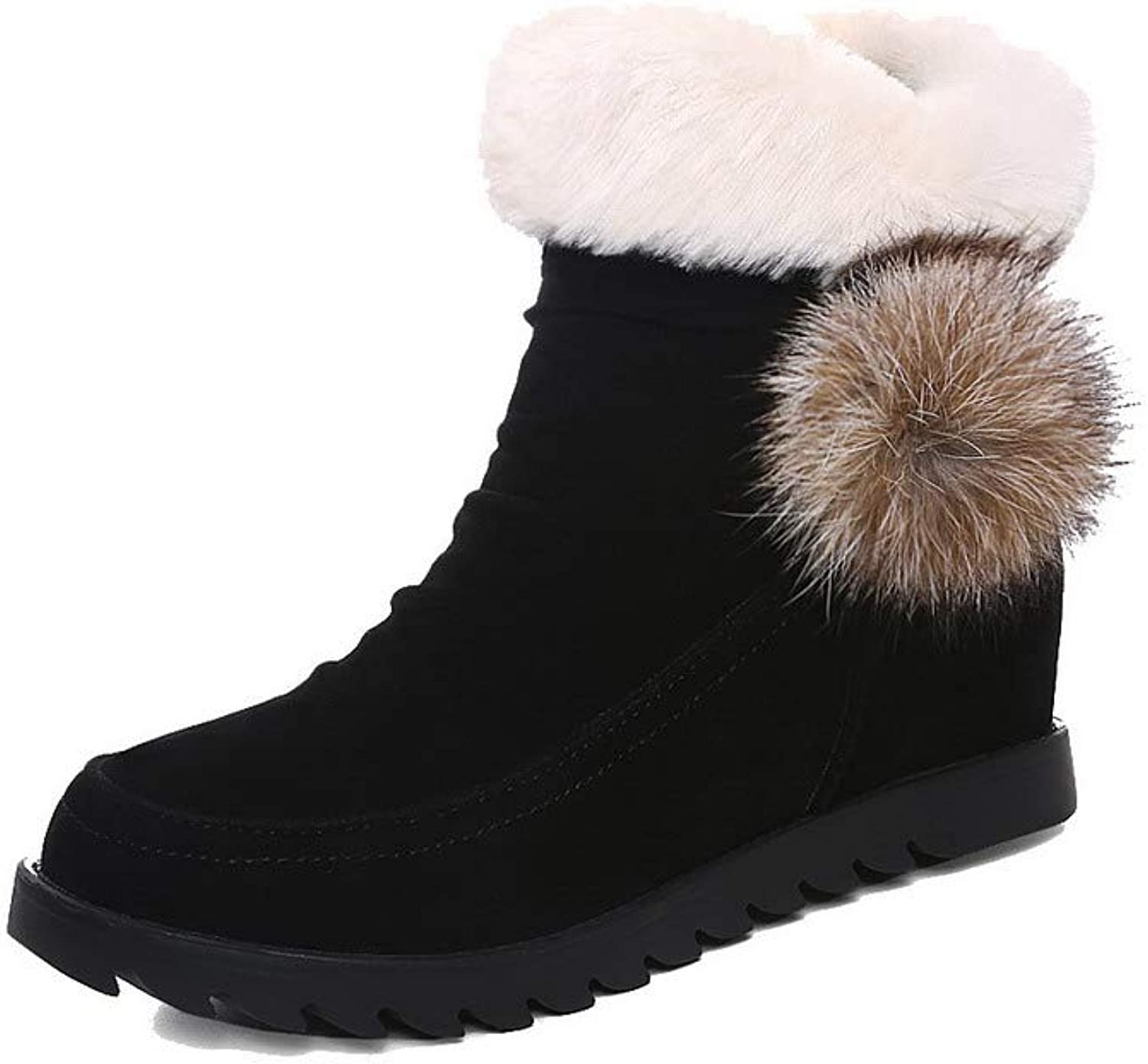 AmoonyFashion Women's Round-Toe Low-Heels Frosted Low-Top Assorted color Boots, BUSXT127994