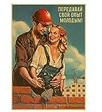 LGXINGLIyidian Seconda Guerra Mondiale Rosso Pin-Up delle Ragazze URSS Sovietico Vintage Tela retrò Poster Bar Cafe Soggiorno Parete Dipinti Decorativi St284 40X50Cm