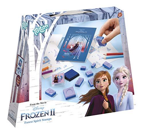 Disney Frozen II Stempelset mit verschiedenen Stempelmotiven, Stiften und einem Malblock von Anna und Elsa