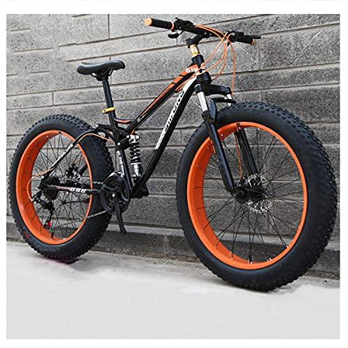 Doble Suspensión Bicicleta Montaña para Adulto Hombre Mujer, Neumático Gordo MTB Profesional Doble Freno Disco Ciclismo BTT, Cuadro Fibra De Carbon,Naranja,24 Inch 21 Speed