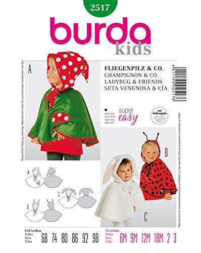 Burda 2517 Schnittmuster Kostüm Fasching Karneval Fliegenpilz & Co (Baby, Gr. 68-98) – Level 1 super Easy