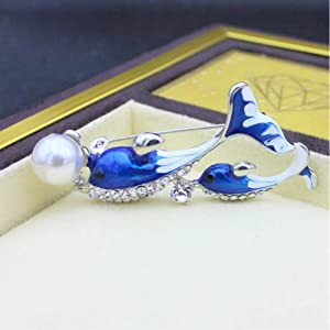 XZDAXZDA Broche Delfines Perla Broches Lindos para Mujeres Accesorios Azules Alfileres Esmalte Rhinestone Pin Metal Joyería Moda