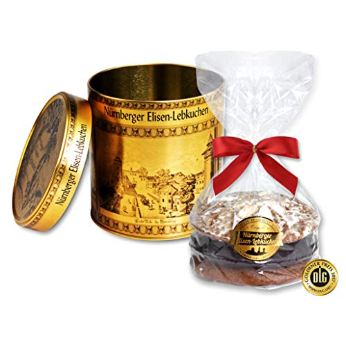 Schmuckdose goldfarben, mit 3 Lebkuchen, Motiv: Nürnberg (1x240g Lebkuchen)