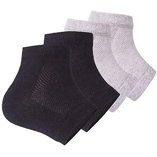 Moisturizing Heel Socks, 2 Pairs Toeless Socks Gel Lined Spa Socks for Dry Heels Treatment Cracked Heel Repair (Black/Grey)