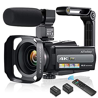 4K 60FPS Video Camera Camcorder Ultra HD 48MP Digital Camera WiFi YouTube Vlogging Camera with Microphone IPS Touch Screen IR Night Vision Recorder, 2.4 G Remote Control, Stabilizer, Lens Hood by AiTechny