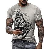 Camisetas Personalizadas de Manga Corta con Estampado Retro de Motorista para Hombre, Camisetas con Cuello Redondo y Estampado de Motocicleta