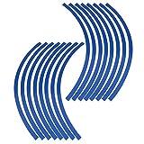 Elerose Ribete de borde de raya de 16 ruedas Adornos para automóviles de 16-19 pulgadas, ruedas de bicicleta y motocicleta(Azul)