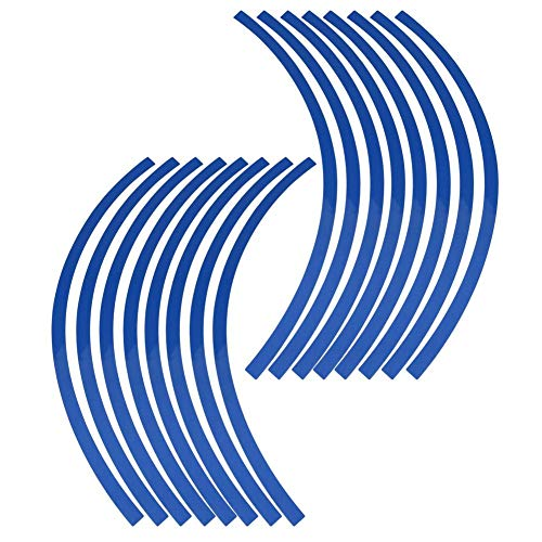 Elerose Ribete de borde de raya de 16 ruedas Adornos para automóviles de 16-19 pulgadas ruedas de bicicleta y motocicleta pegatinas llantas moto(Azul)