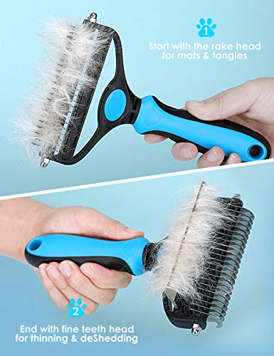 Pet Grooming Brush for Dogs/Cats, 2 in 1 Deshedding Tool & Undercoat Rake Dematting Comb for Mats & Tangles Removing, Reduces Shedding by up to 95%, Great for Short to Long Hair Small Large Breeds