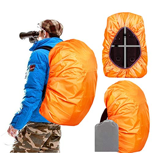 Joy Walker Backpack Rain Cover Waterproof Breathable Suitable for (15-30L, 30-40L, 40-55L, 55-70L, 70-90L) Backpack Hiking/Camping/Traveling (Orange, Middle (for 30-40L Backpack))