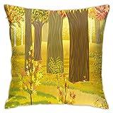 Hangdachang Moderna Funda de cojín para cojín, fantasía de ensueño con ilustración de Bosque Encantado, árboles de Hoja caduca, arbustos en el Campo, Funda de Almohada Decorativa Cuadrada, 18'x 18'