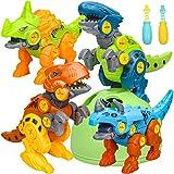 Sanlebi 4 Piezas Dinosaurios Juguetes con Taladro, Huevo de Dinosaurio Juegos de Construccion Animales Juguetes para Niños