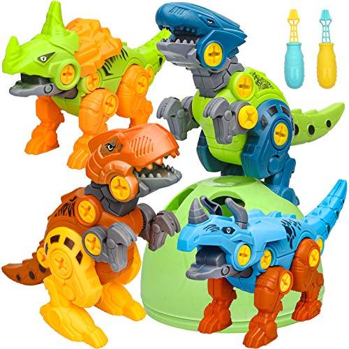 Sanlebi Dinosaurier Montage Spielzeug, 4 Stück Dinosaurier Spielzeug ab 3 4 5 6 Jahre mit Schrauben Dinosaurier Ei DIY Gebäude Spielzeug Geschenke für Kinder Jungen Mädchen 3-7 Jahre