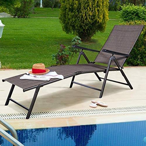 LUARANE Patio Adjustable Lounge Chair, Foldable Chaise Lounge Fabric Chair w/Ergonomic Handwoven Rattan Steel Frame, Cozy Patio Furniture for Poolside Patio Garden Balcony