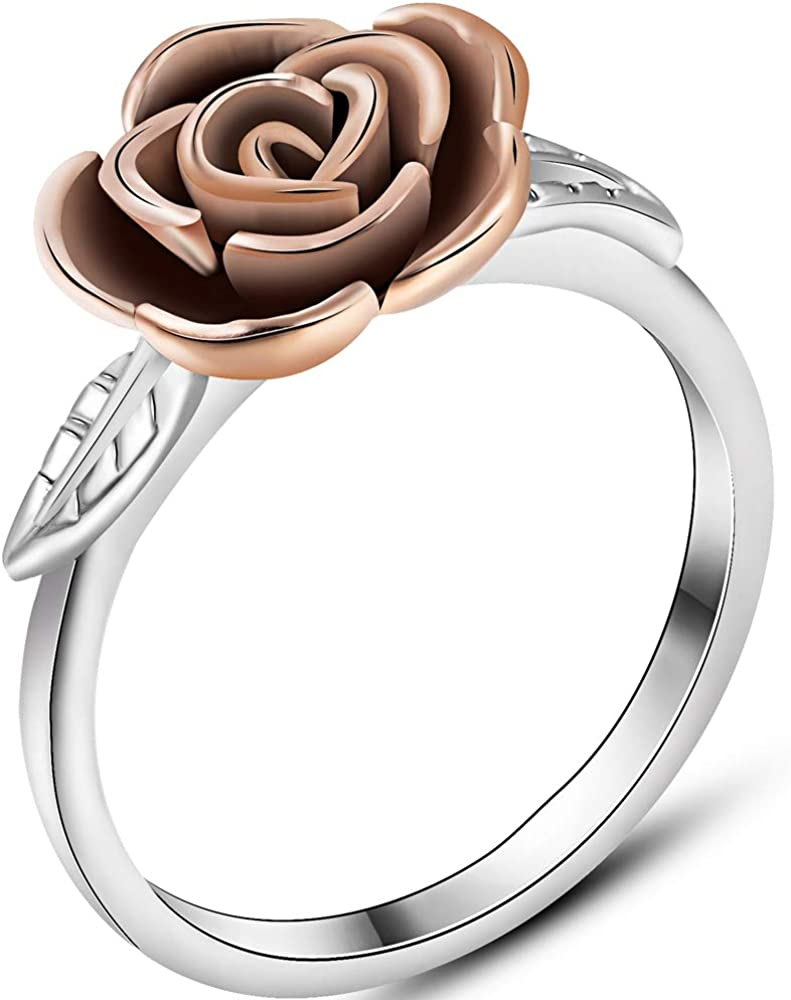 Jude Jewelers Stainless Steel Rose Flower Style Promise Statement Party Ring