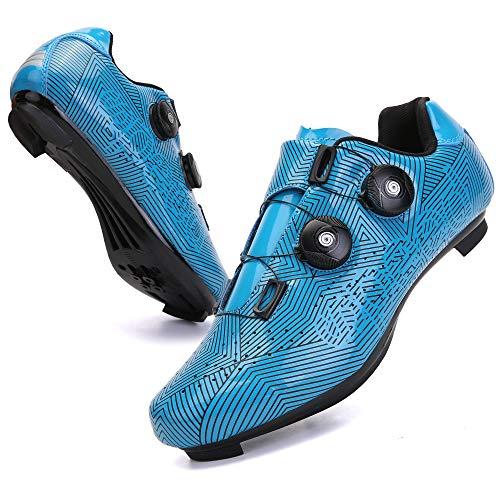KUXUAN Zapatillas de Ciclismo para Hombre Zapatillas de Bicicleta de Carretera con Zapatillas SPD Peloton con Hebilla Delta Compatible para Carreras de Equitación en Interiores,Blue-12UK=(280mm)=46EU