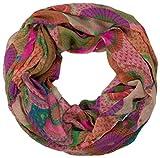 styleBREAKER fular de tubo de diseño étnico con círculos y puntos de colores 01016012, color:Violeta-Rosa-Verde, material:material estándar