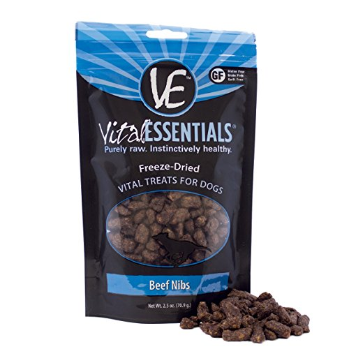 Vital Essentials Freeze-Dried Beef Nibs Dog Treats - All Natural - Made & Sourced in USA - Grain Free - 2.5 oz Resealable Pouch - 10 Pack