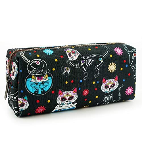 LParkin Day of the Dead Cats Pencil Case Gadget Box Dia de los Muertos Bag Sugar Skull Cats Bag Toiletry Zip Pouch Rockabilly Bag Makeup Cosmetic Stationary