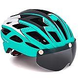 VICTGOAL Casco Bici con Visiera Protettivi Magnetici Rimovibili Certificato CE Casco Bici da Corsa per Adulto Uomo Donna 57-61 CM (Ciano)